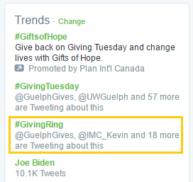 #GivingRing is trending locally on Twitter just behind #GivingTuesday in Guelph