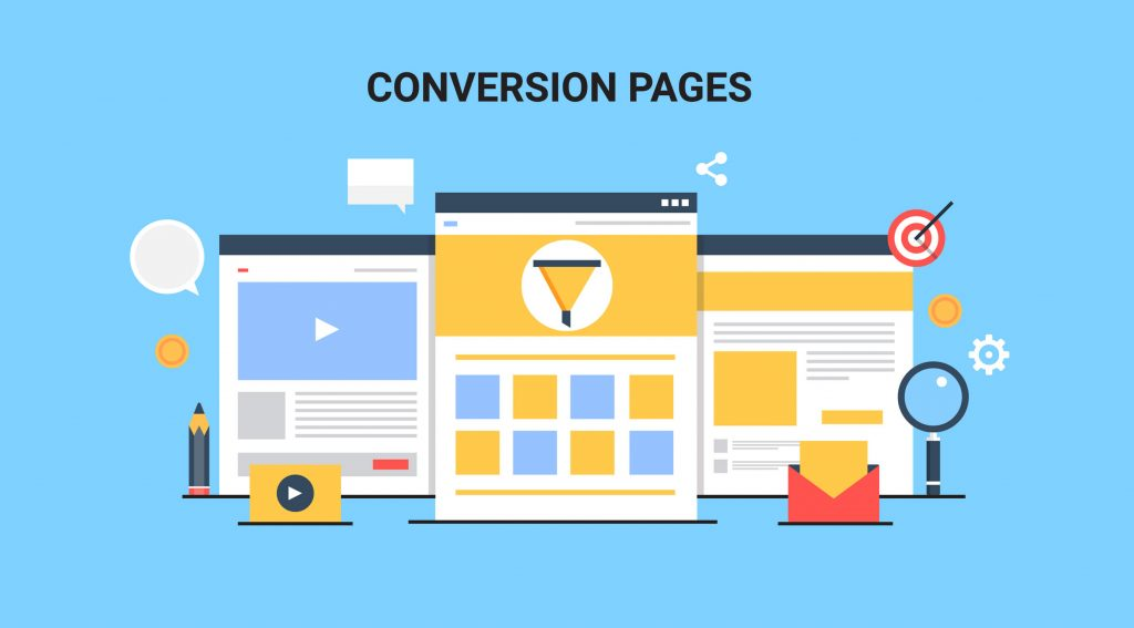 Conversion pages, Landing pages, Split testing, Conversion optimization flat vector illustration with icons