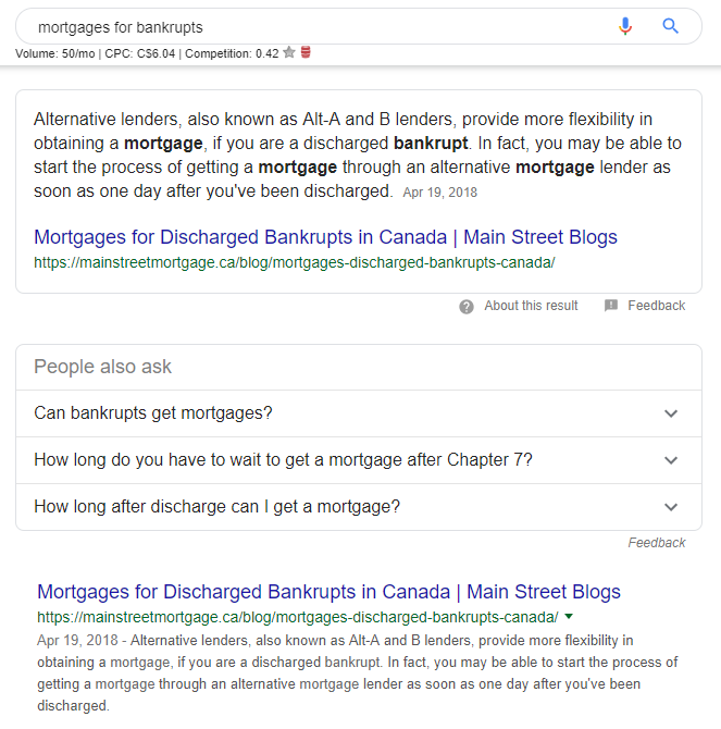 Main Street Mortgage Featured Snippet