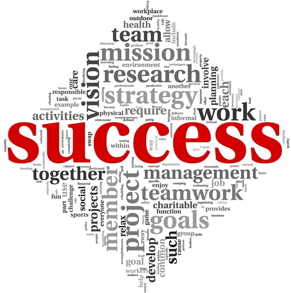 word bubble of the word 'success'