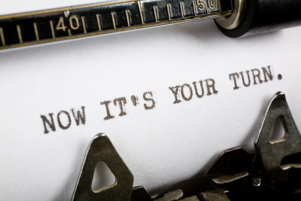 Typewriter close up shot, Concept of now it's your turn