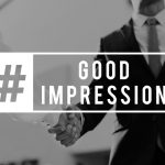 It Takes 50 Milliseconds To Make A First Impression- Businessman with Hashtag Good Impression