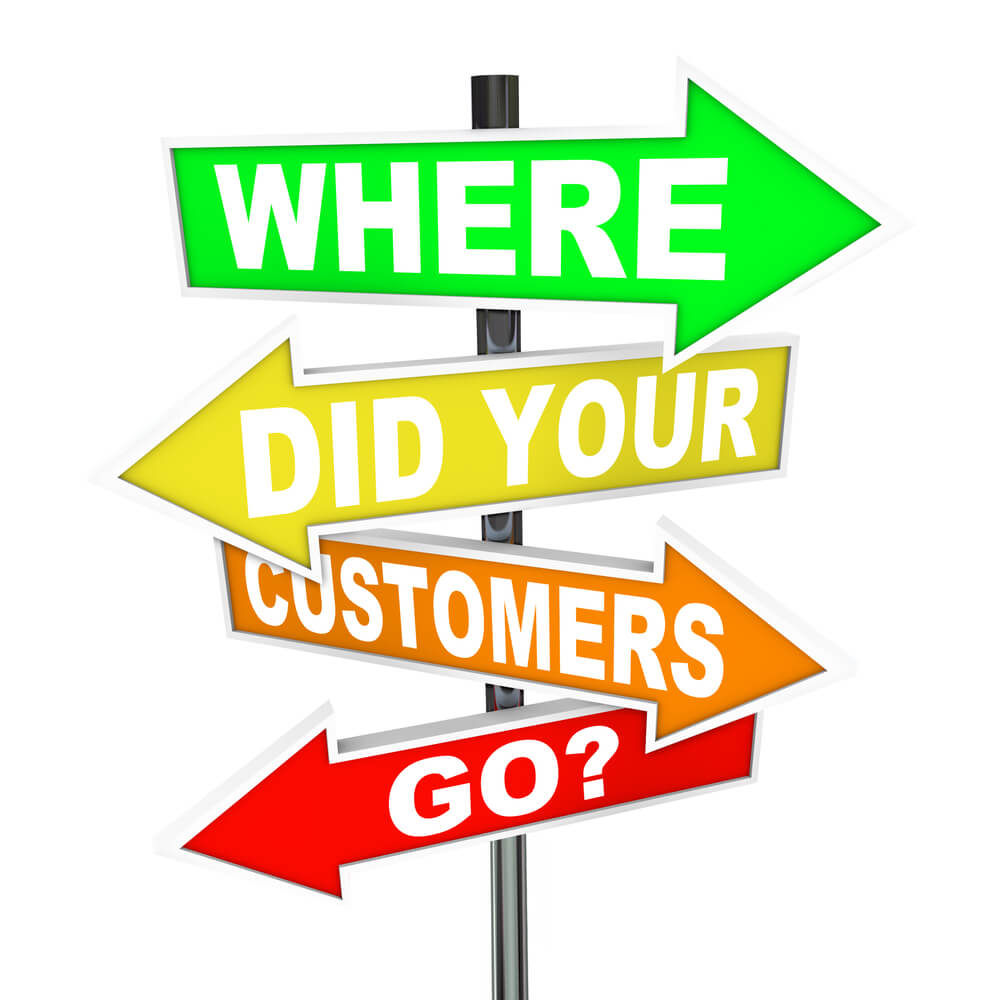 Several colorful arrow street signs with the words Where Did Your Customers Go