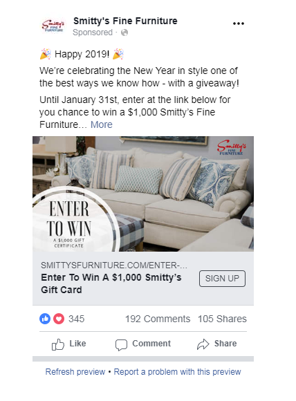 Smitty's Facebook Contest Post