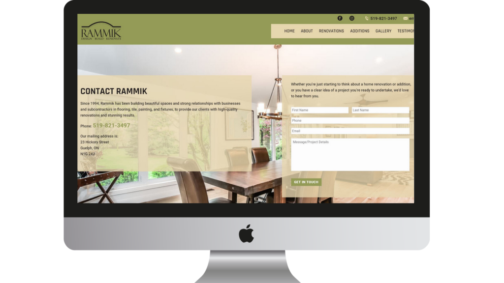 Rammik Contact Page website