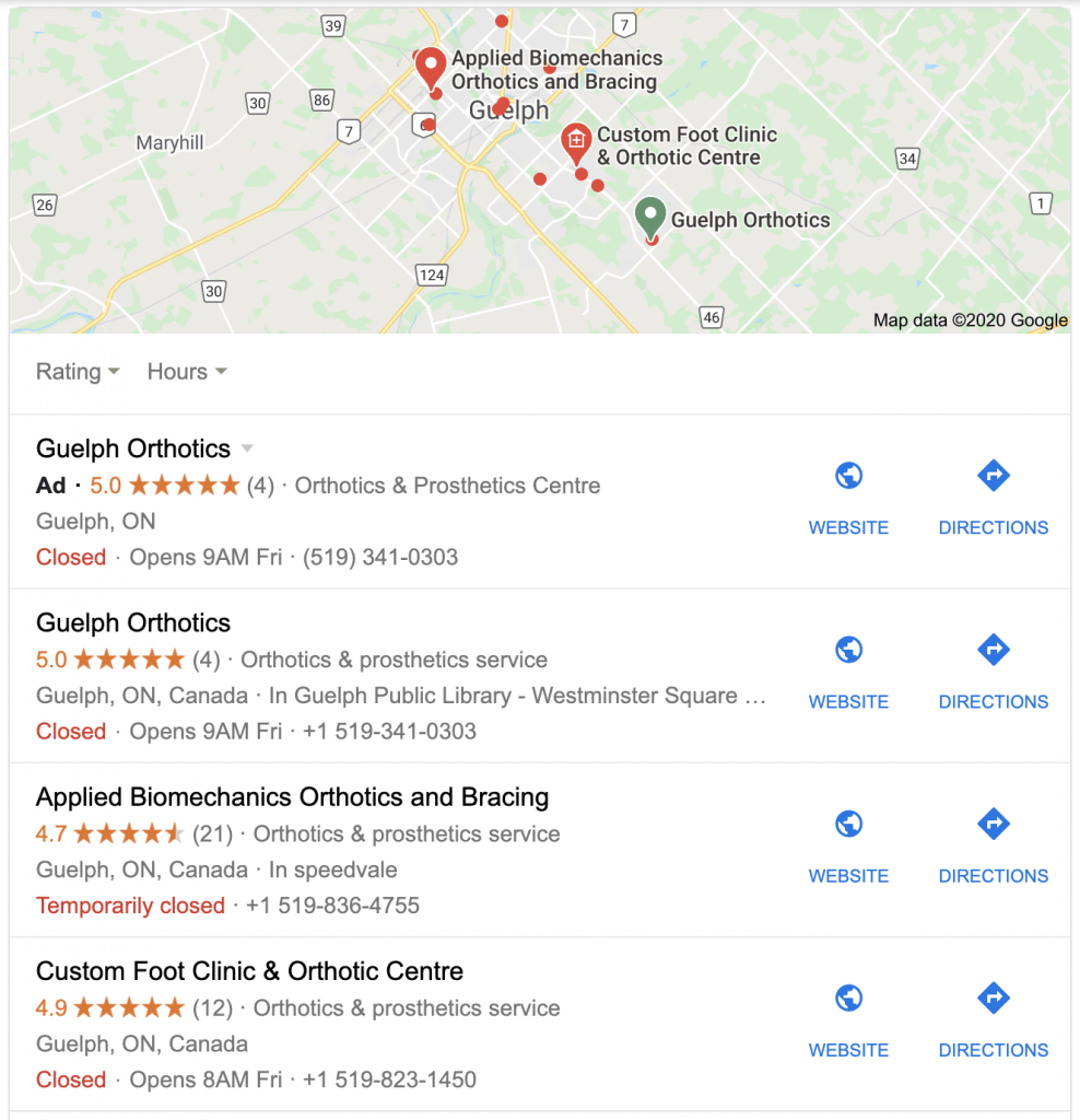 SEO Case Study with local pack rankings from Google My Business
