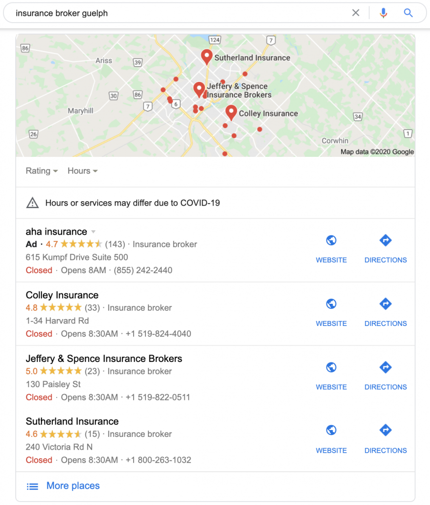SEO Case Study showing local pack rankings from Google My Business