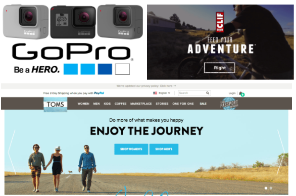 Elements of the Hero's Journey from GoPro, Clif, and TOMS