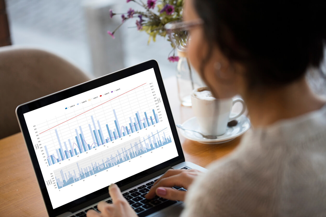 Business Lady Looking at Marketing Analytics