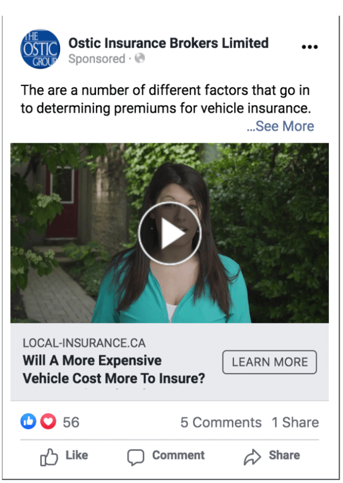 Facebook Video Ad for Insurance Company