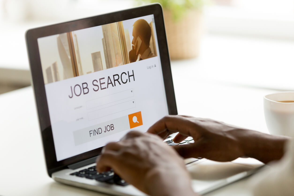 browsing work opportunities online using job search